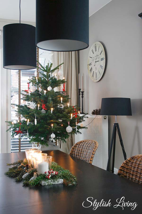 weihnachtsbaum in rot wei stylish living. Black Bedroom Furniture Sets. Home Design Ideas