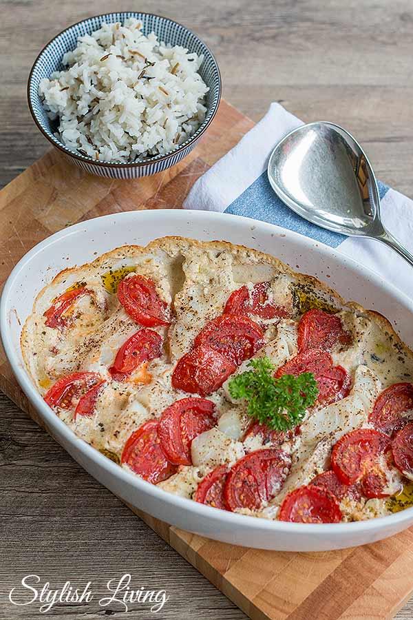Kabeljau-Tomaten-Auflauf