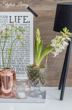 Frühlingsdeko mit Blumen auf Dekotablett