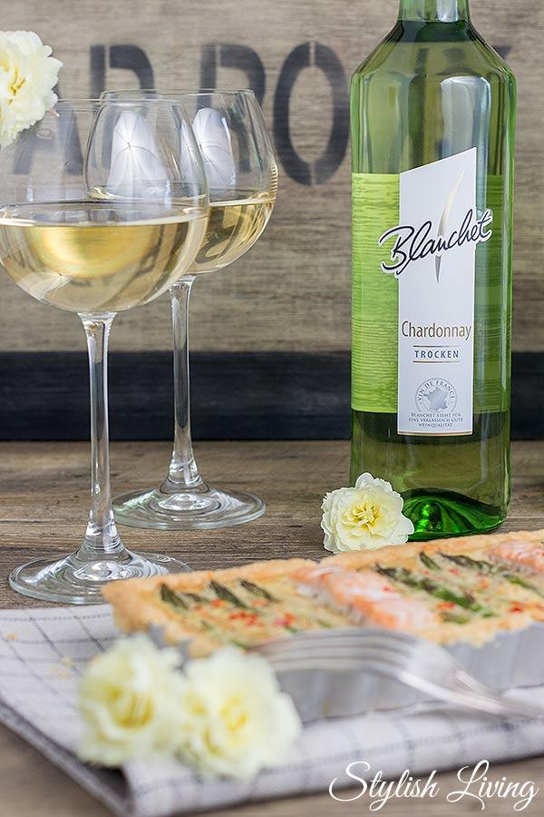 Blanchet Chardonnay mit Spargel-Lachs-Tarte