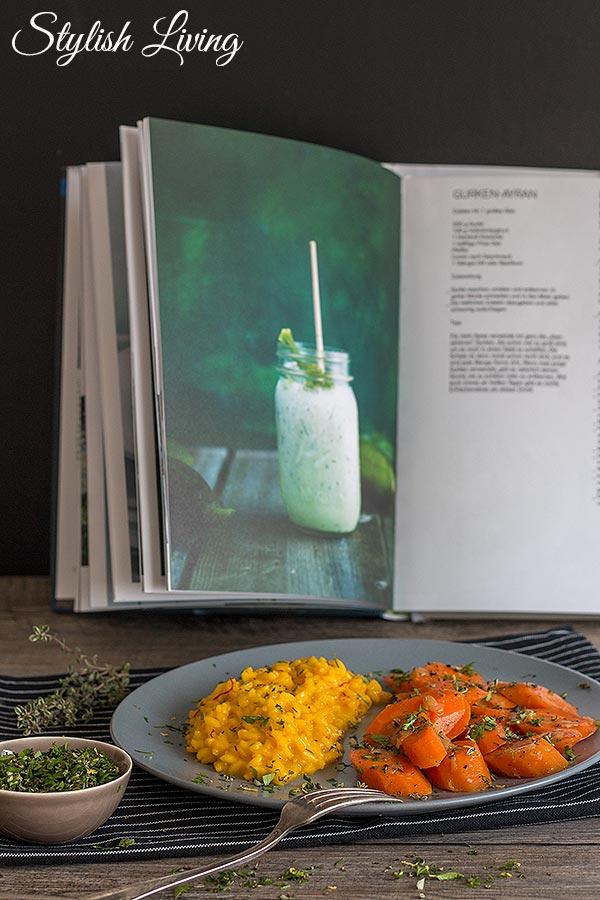 Safranrisotto mit geschmorten Karotten