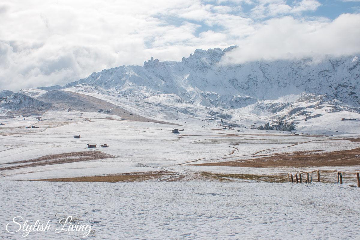 Blick auf die Rosszähne Seiser Alm im Winter