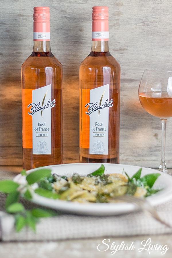 Spinat-Ricotta-Ravioli mit Blanchet Rosé de France
