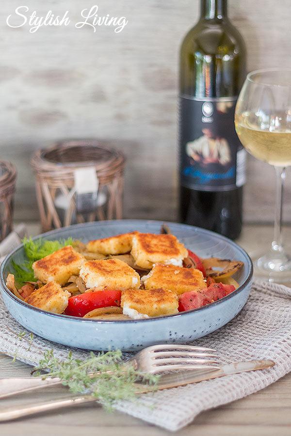 Fenchelgemüse mit Tomaten und gebratenem Feta