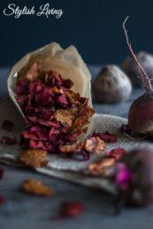 Rote Bete Chips mit Byodo Apfelessig naturtrüb