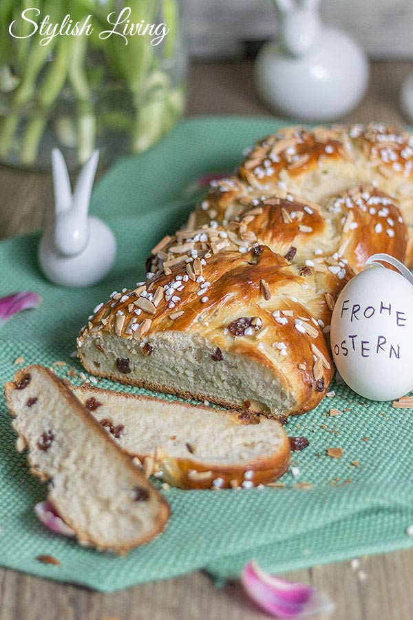 bester Hefezopf zu Ostern mit Rosinen