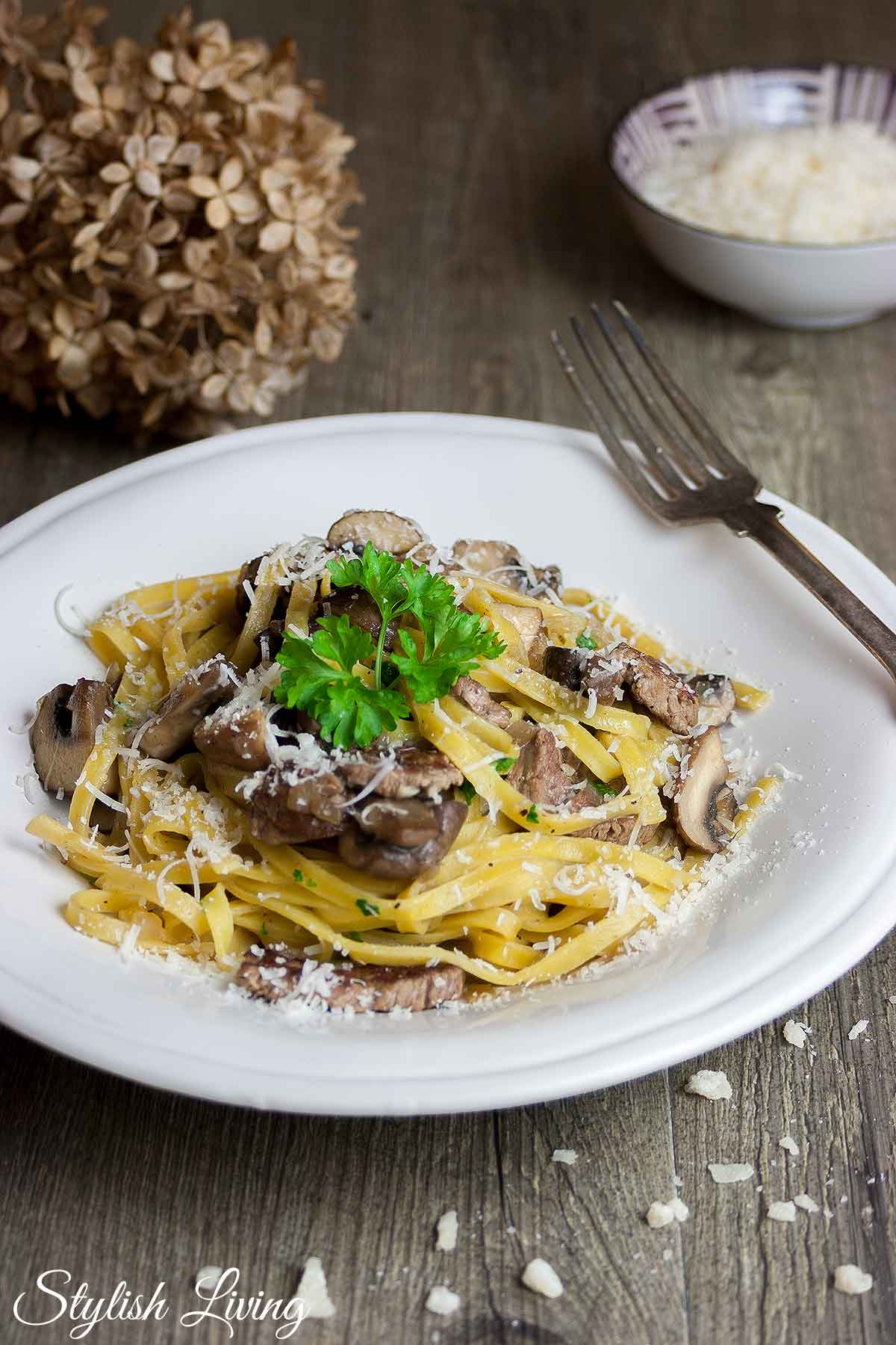 Pasta mit Rinderfilet und Pilzen