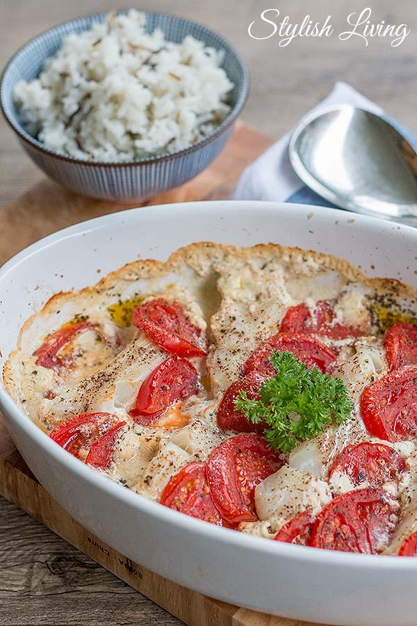 Kräuter-Kabeljau mit Tomaten