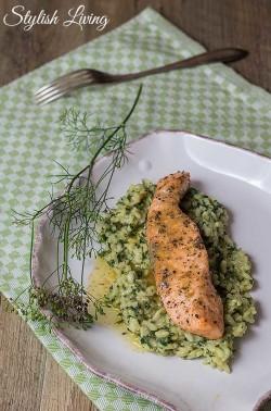Erbsen-Minz-Risotto mit Lachs