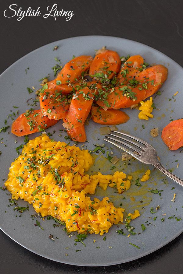 geschmorte Karotten mit Safranrisotto