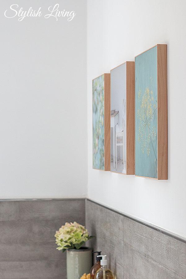 Acrylglasbilder im Holzrahmen von posterXXL verschönern das Bad