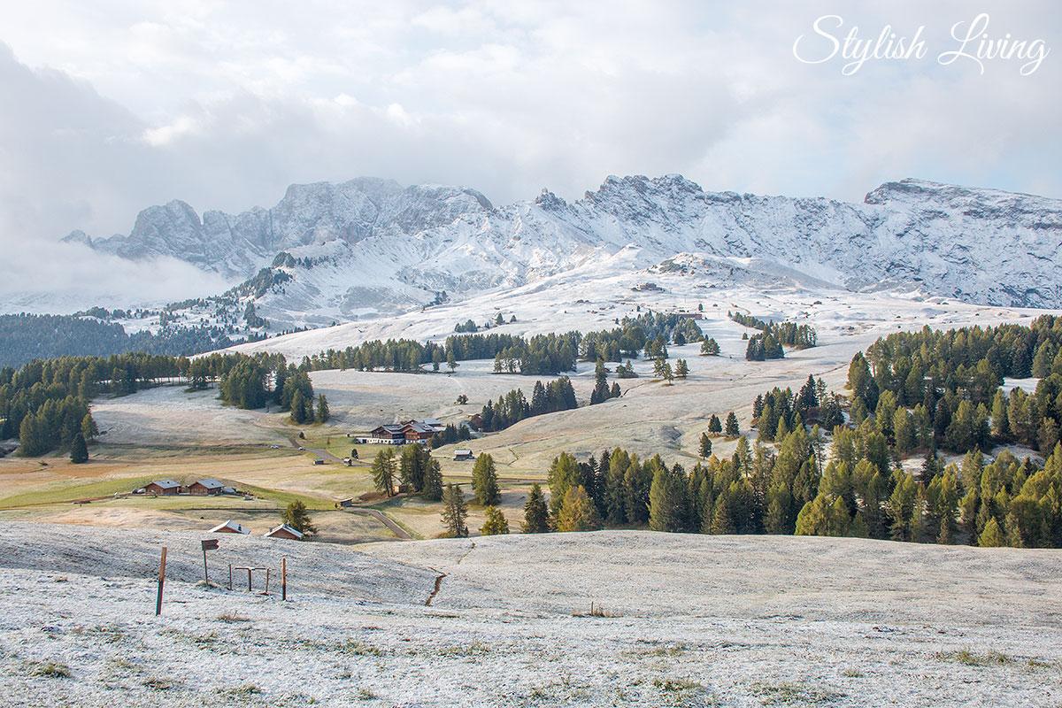 Blick auf die Seiser Alm vom Zimmer Dolomiti