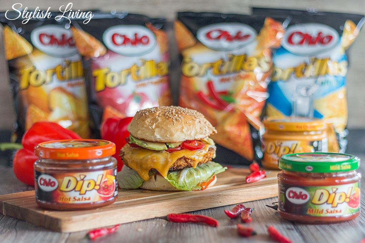 Crispy Chicken Burger mit Chio Tortillas Panade