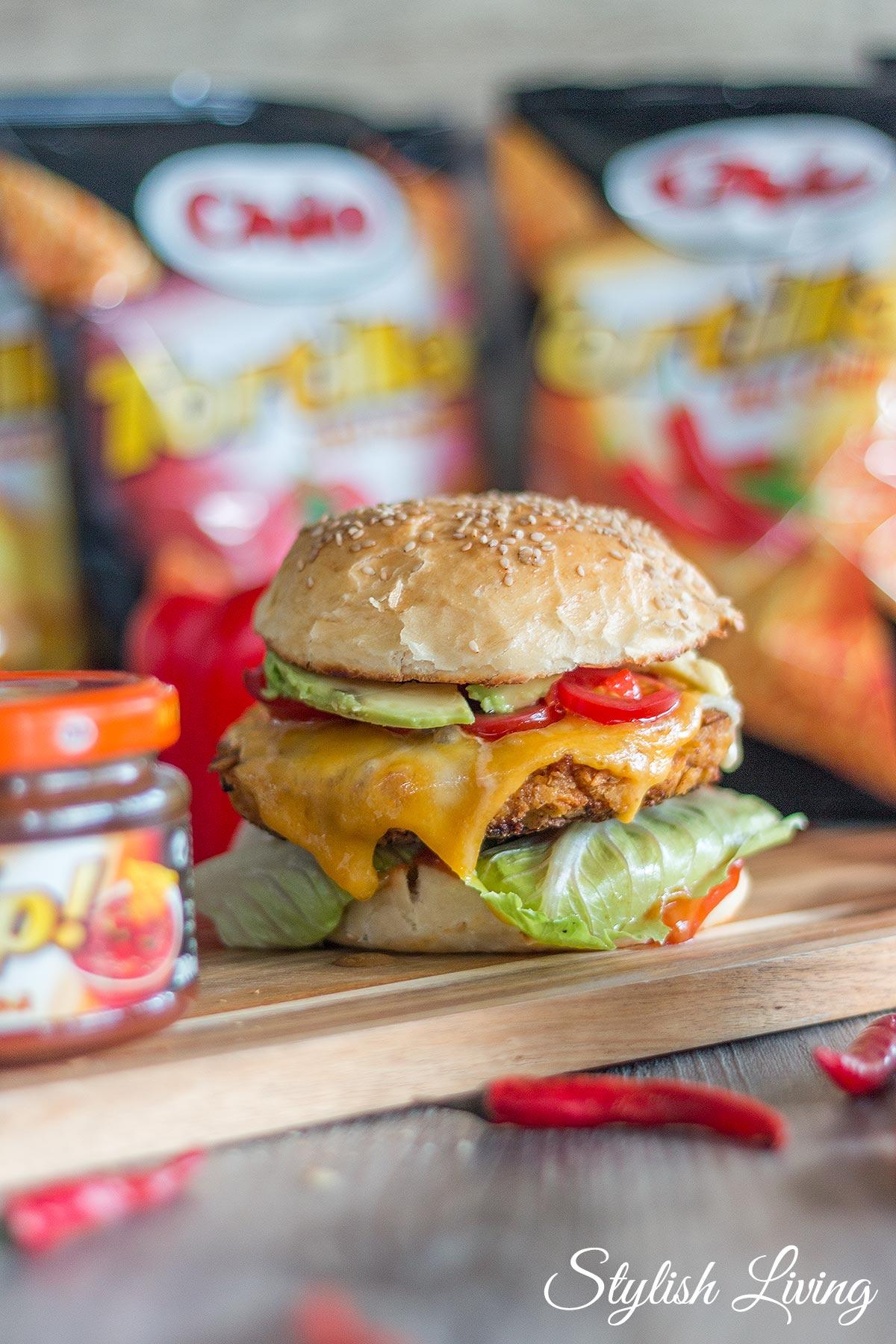 Crispy Chicken Burger mit Chio Tortillas