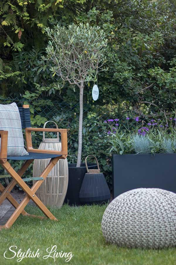 gemütliche Gartenecke mit VIVANNO Pflanztrögen
