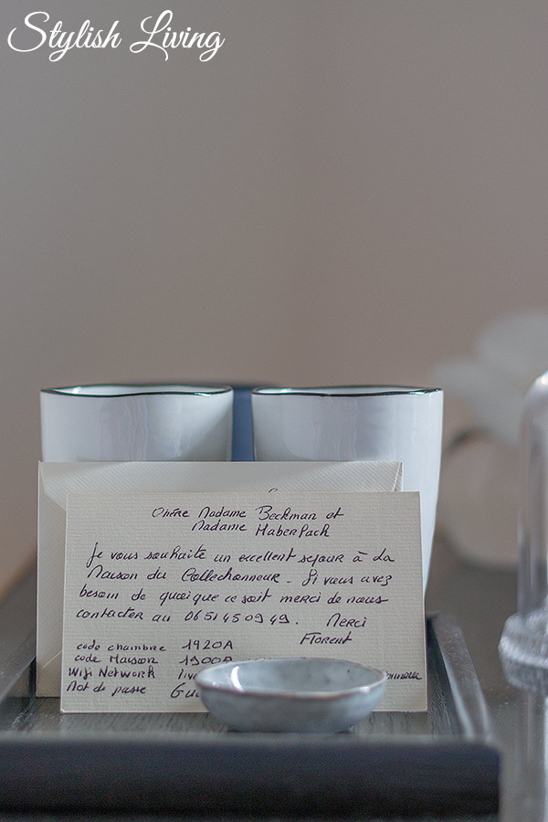 persönlich geschriebene Begrüßung im Maison Du Collectionneur in Aix-en-Provence