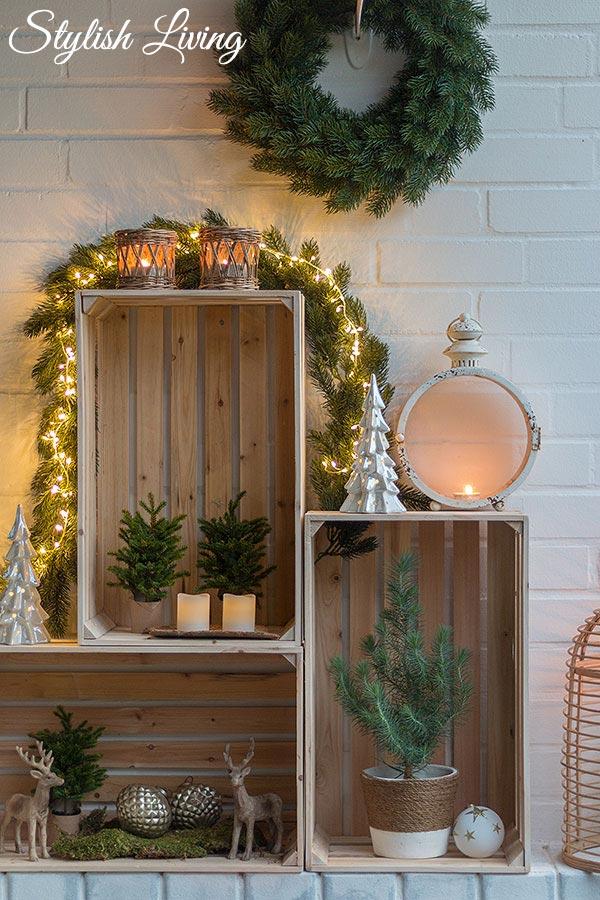 Weinkisten weihnachtlich dekorieren stylish living - Deko mit weinkisten ...