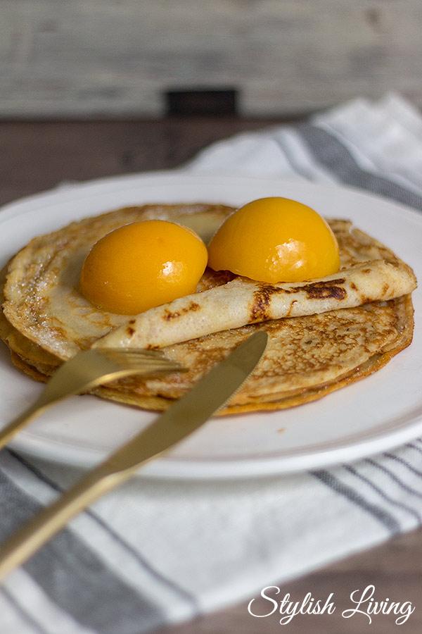 weltbeste Pfannkuchen mit Pfirsich
