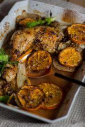 Ofenhähnchen mit Fenchel, Orangen in Portweinsauce