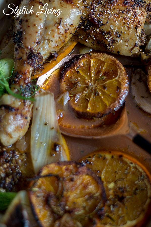 Ofenhähnchen mit Fenchel und Orangen
