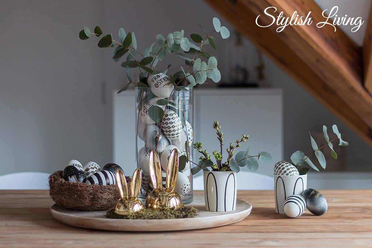 Ostereier im Schwarz-Weiss-Gold-Look DIY