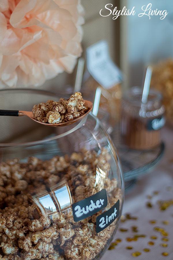 Zucker-Zimt-Popcorn für die Popcorn Bar