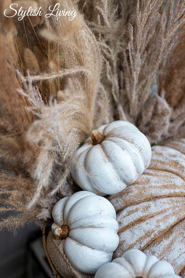 Dekokürbisse in Herbstkorb