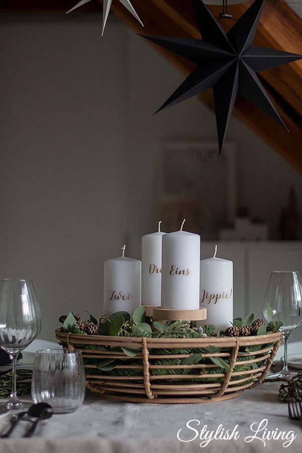 Adventskranz Korb mit Tanne, Eukalyptus und Lärchenzapfen