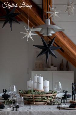 Adventstischdeko mit Adventskranz Korb